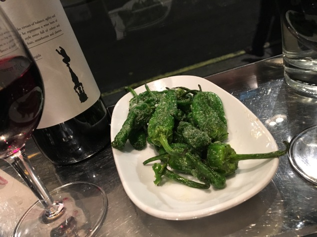Slightly salted padron peppers
