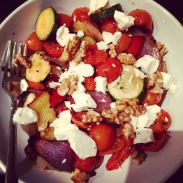 Walnut, Goats Cheese and roasted veg salad